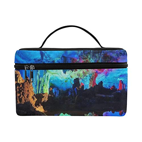(Colofrul Neon Lights In Reed Flute Cave Pattern Lunch Box Tote Bag Lunch Holder Insulated Lunch Cooler Bag For)