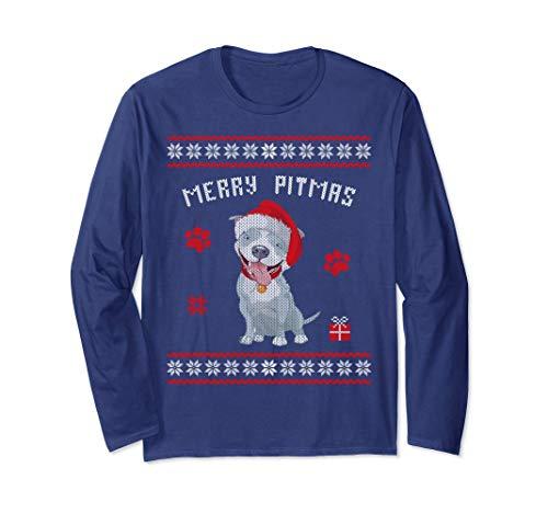 Unisex Merry Pitmas Ugly Christmas Style Christmas Dog Pit-bull Large Navy