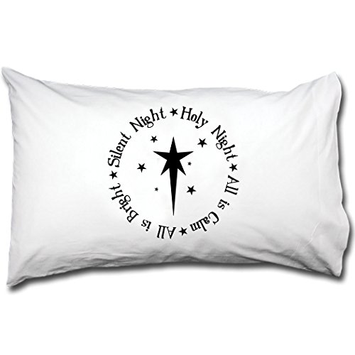 Style in Print Silent Night Holy Night, All Is Calm All Is Bright Bed Pillow Case by Style in Print