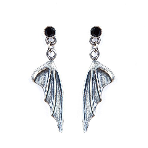 - Paialco Obsidian Stud Dragon Wings Drop Dangle Earrings 925 Sterling Siver Vintage Gothic and Punk Earbob