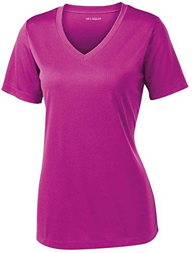 (Women's Short Sleeve Moisture Wicking Athletic Shirt-PinkOrchid-M)