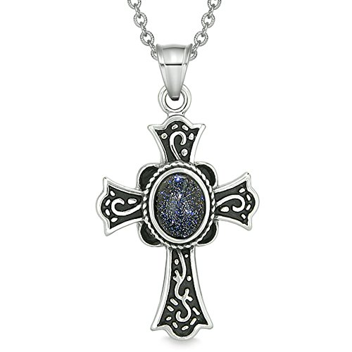 Magic Holy Cross Protection Powers Amulet Charm Blue Goldstone Pendant 18 inch Necklace - Protection Cross