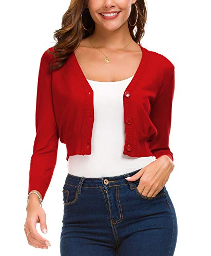 Coat Down Button - Women's Fashion Short Cardigan Button Down Knitted Coat V-Neck Shrug Trendy Bolero (M, Red)