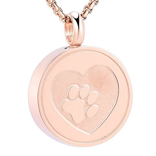 - Pet Paw Print Heart Cremation Urn Locket Necklace Hold Dog/Cat Ashes Casket Keepsake Jewelry (Rose gold)