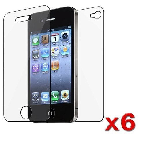 6 Full Sets (6 Front & 6 Back) of Screen Film Cover Protectors for AY&T Verizon Apple iPhone 4 4G 4GS 4 G S (Protector Universal Reusable Screen)