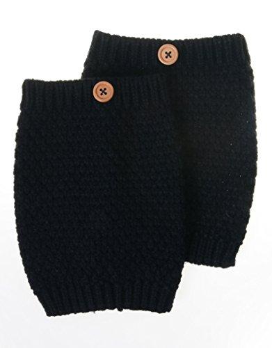 M-246-06 Popcorn Stitch Button Boot Cuff - Black Ladies Sparkle Cuff Glove