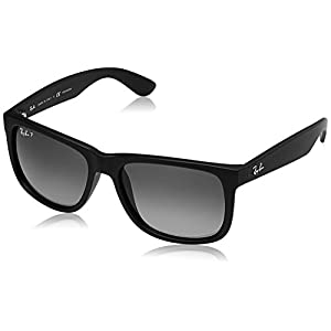 Ray-Ban Men's 0RB4165 Justin Polarized Sunglasses, Black Rubber, 55mm