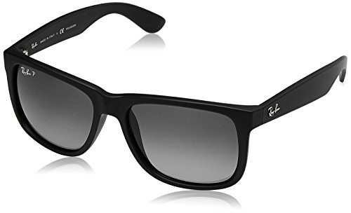 Ray-Ban Men's 0RB4165 Justin Polarized Sunglasses, Black Rubber, - Ray Justin