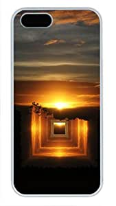 Protective PC Case Skin for iphone 5 White Fashion PC Case Back Cover Shell for iphone 5S with Dusk Artistic Conception Diagram