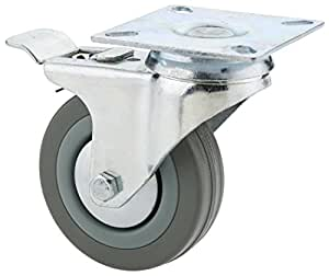 Steelex D2598 3-Inch 150-Pound Swivel Double Lock Rubber Plate Caster, Gray