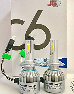 JG C6 H7 Led Headlight Bulbs - 144W 14400LM Conversion Kits 6000K-Waterproof-Extremely Bright-Instant Start-C6 Led Bulb Replacement Halogen,HID,2pcs Set