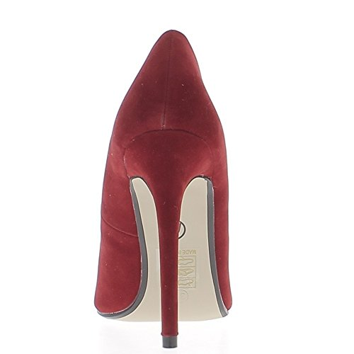 Escarpins rouges à talons aiguille de 11,5cm bouts pointus aspect daim