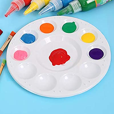 UPlama 24 PCS Paint Tray Palettes Plastic White Generic Round Paint Tray Palettes for DIY Craft Professional Art Painting