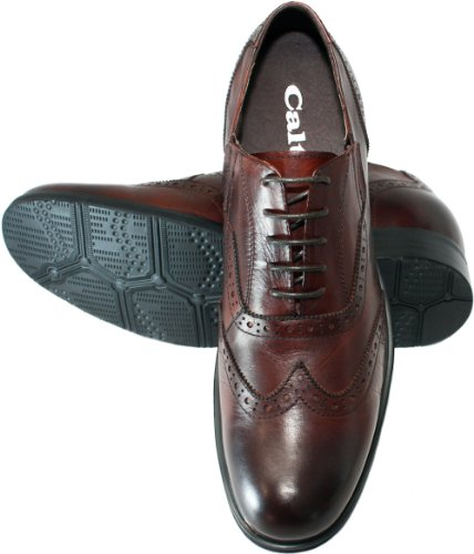 calto – g53222–7,6 cm Grande Taille – Hauteur Augmenter Ascenseur shoes-brown wing-tip à lacets