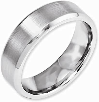 Jewelry Best SellerCobalt Beveled Edge Satin and Polished 7mm Band