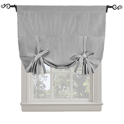 sheetsnthings Soho Triple-Pass Thermal Insulated Silver Blackout Curtain – Tie Up Shade for Small Window (Rod Pocket Panel, 42″ W x 63″ L)