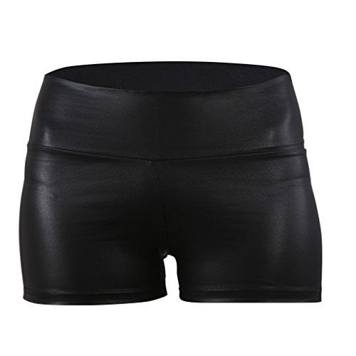 JNTworld women Sexy Faux Leather High Waist Shorts Sateen Skinny pants black, L, Black