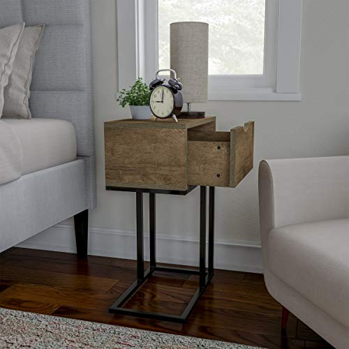 Sofa Side Table- C Shaped End Table with Storage Drawer, Modern Farmhouse or Rustic Style Laptop Tray, Slide Under Couch or Bed by Lavish Home (Gray) (Table C With Drawer)