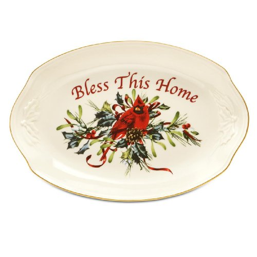 - Lenox Winter Greetings Bless This Home Bread Tray