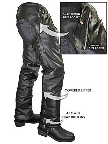 Xelement B7561 Men's Black Cowhide Leather Motorcycle Chaps with Removable Insulating Liner - 30