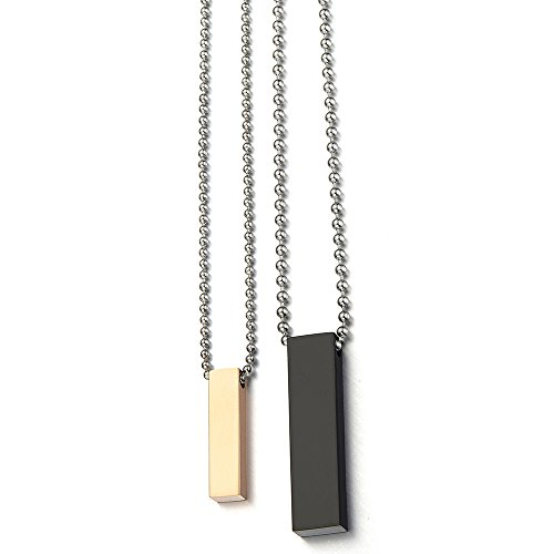Une Paire de Couples Collier - Amoureux Collier - Collier Homme Femmes - Acier Inoxydable - Noir et Or Rose Deux Tons
