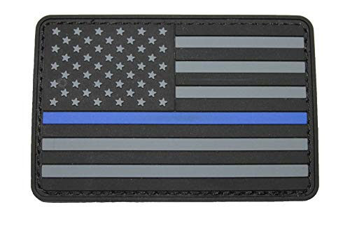Thin Blue Line American Flag Patch – PVC Hook & Loop Backing – 2x3 – Black & Grey Stripes - for Tactical Backpacks Jackets Hats Shirts – Police Law Enforcement Support
