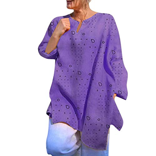 Sunyastor Women's Blouse Summer Fashion Printed Casual Long Sleeve Pleated Flare V-Neck Tunic T Shirt Top Plus Size Purple