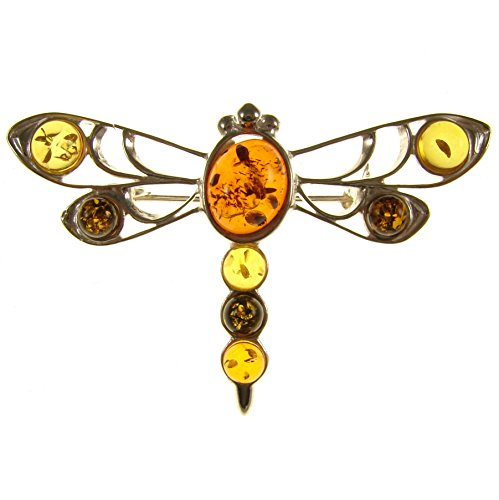 (BALTIC AMBER AND STERLING SILVER 925 DESIGNER MULTI-COLOURED DRAGONFLY BROOCH PIN JEWELLERY)