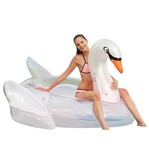 Franklin Sports Pool Float - Pool Float – Giant Inflated Swan Float – Adult Pool Tube – 71 Inch Pool Float – Super Size Fits Two! ()