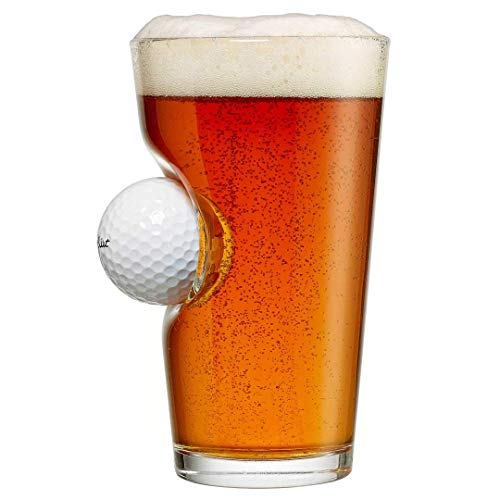BenShot Pint Glass with Real Golf Ball Made in the USA ()