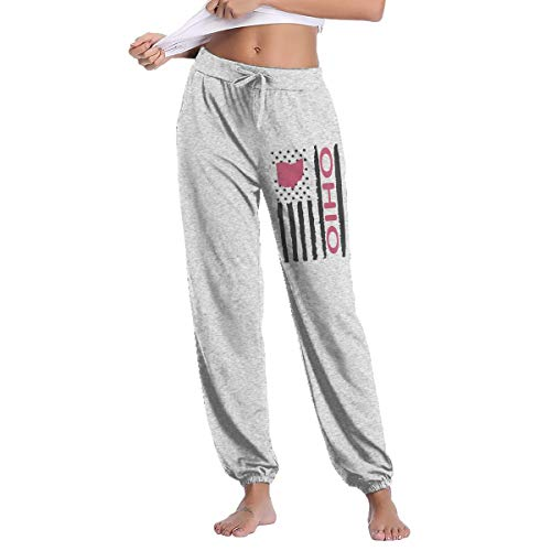 Womens Vintage Ohio State America Flag Sweatpants with Pockets Gym Jogging Gray ()