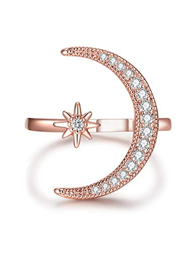 (Patron Saint-Has The Moon Goddess Glory and Lucky Ring Best for Women and Girls(Rose)