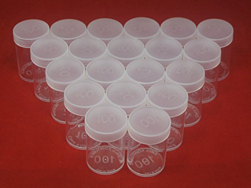 (20) Edgar Marcus Brand Round Clear Plastic (Large Dollars) Size Coin Storage Tube Holders with Screw on Lid