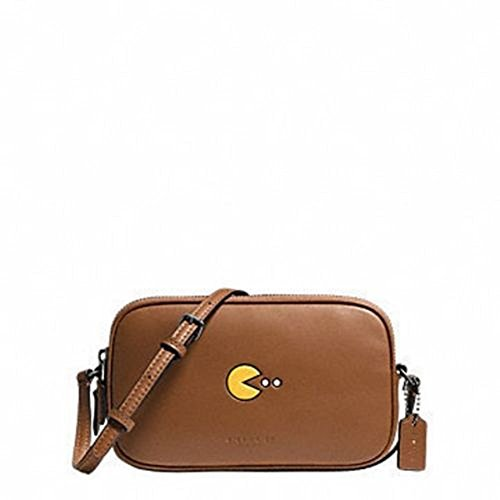 COACH Limited Edition Glovetan Leather Pac Man Double Zip Crossbody in Saddle Tan / Dark Nickel 55743