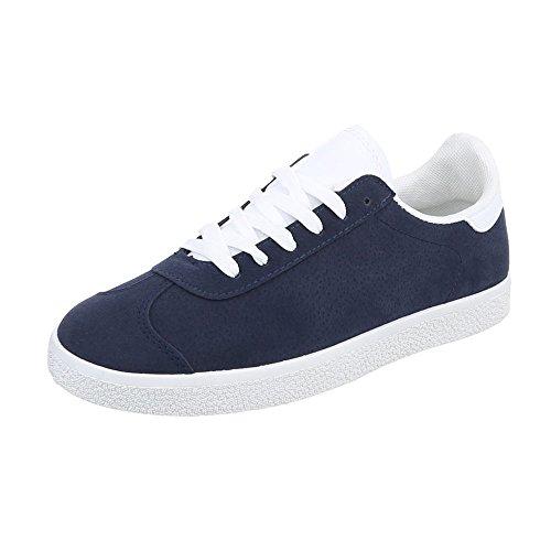 Ital-Design Sneakers Low Damenschuhe Low-Top Sneakers Schnürsenkel Freizeitschuhe Dunkelblau