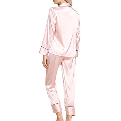 YUYU Verano Mujeres Seda de imitación Pijamas Solapa La manga larga Pantalones Juego de dos Cuatro colores , rubber red , l