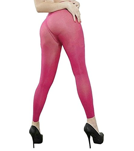 YiZYiF Women's Semi Opaque Sheer Leggings Footless Pantyhose Tights Rose (Stretchy Footless Tights Leggings)