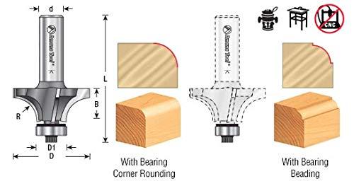 49545 Carbide Tipped 4 Flute Corner Rounding//Beading 1//2 Radius x 1-5//8 Dia x Amana Tool
