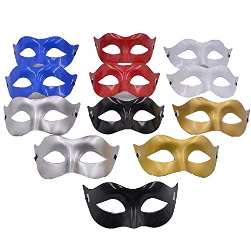 Masquerade Mask Party Favors - Mardi Gras Venetian Mask Halloween Novelty Gifts Pack of 12 (Mix Color) ()