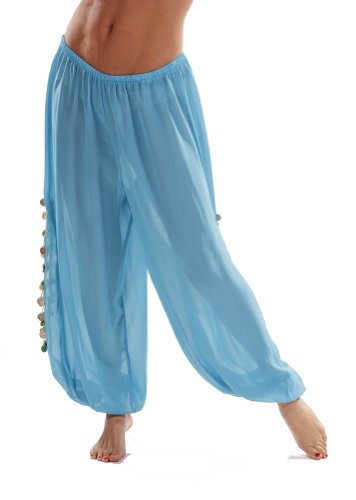 Belly Dance Costumes Harem Pants (Bellydancer Chiffon Harem Pants with Side Slits | Maiden Dance - Turquoise/Gold)