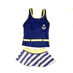 BIKMAN Big Girls'Children Kids Swimdress Swimwear Striped Skirt Two-piece Swimsuit (blue, 140(6-8 years old))