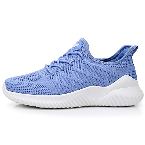 - QAUPPE Women's Memory Foam Tennis Shoes Lightweight Comfortable Casual Mesh Slip On Athletic Walking Sneakers (Blue US 7 B(M)