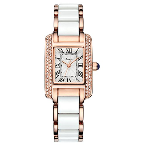 Tidoo Jewelry Noble Dress Watch Japaneses Quartz Movement , Rhinestone Face with Rose Gold Plated Band Wristwatch for - Faces Of Rectangle