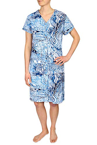 Miss Elaine Plus Size Women's Long Nightgown Made with Interlock Knit Material. with Short Sleeves, Two Inset Side Pockets, and a V-Neckline