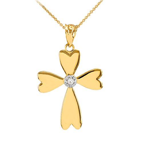 Collier Femme Pendentif 10 Ct Or Jaune Solitaire Diamant Cœur Croix (Livré avec une 45cm Chaîne)