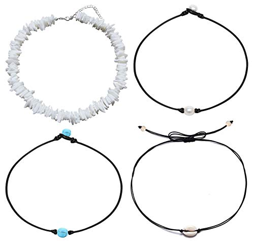 Puka Shell Natural Pearl Chips - ATIMIGO Natural White Puka Chip Shell Necklace for Men Women,Adjuadtable Cowrie Seashell Pearl Turquoise Beads Hawaii Wakiki Beach Choker Necklace for Summer Vacation