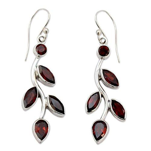 NOVICA Garnet .925 Sterling Silver Floral Dangle Hook Earrings 'Scarlet Bouquet'