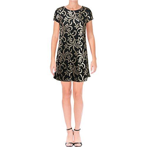 (Jessica Simpson Women's Scroll Embellished Sequin Dress, Black/Gold, 6)