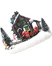 ABOOFAN Christmas House Village Snow River Santa Claus Train Scene LED Lighting Battery Operated LED Light Up Christmas Decoration Without Battery