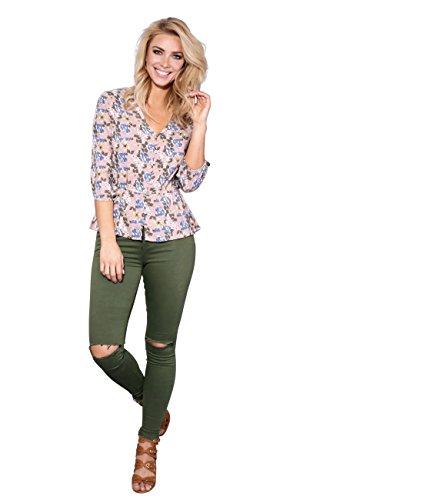 KRISP Women Boho Floral V Neck Button Top (Floral, US 6),[2293-FLO-10] ()